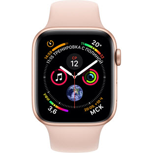 Apple Watch Series 4 GPS 44mm (Gold Aluminum Case with Pink Sand Sport Band, MU6F2RU/A)