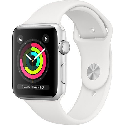 Apple Watch Series 3 42mm (Silver Aluminum Case with White Sport Band)