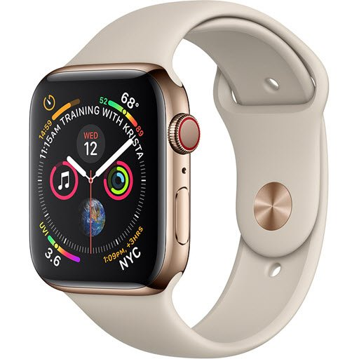Apple Watch Series 4 GPS + Cellular 44mm (Gold Stainless Steel Case with Stone Sport Band)