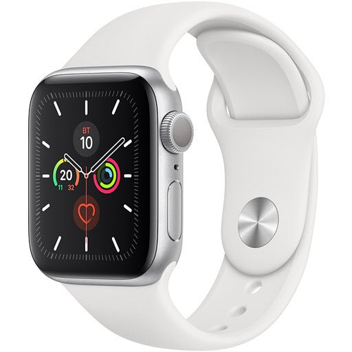 Apple Watch Series 5 GPS 40mm (Silver Aluminium Case with White Sport Band, MWV62RU/A)