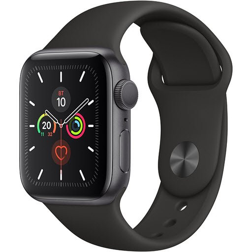 Apple Watch Series 5 GPS 40mm (Space Gray Aluminium Case with Black Sport Band, MWV82RU/A)