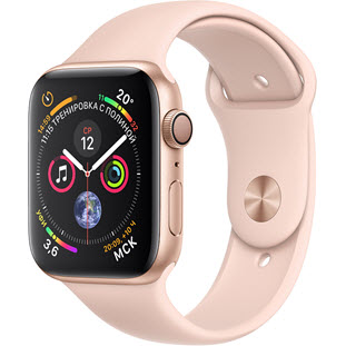 Фото товара Apple Watch Series 4 GPS 44mm (Gold Aluminum Case with Pink Sand Sport Band, MU6F2RU/A)