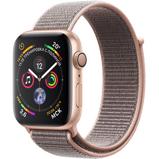 Фото товара Apple Watch Series 4 GPS 44mm (Gold Aluminum Case with Pink Sand Sport Loop, MU6G2RU/A)