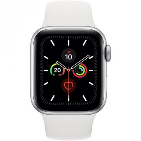 Фото товара Apple Watch Series 5 GPS 44mm (Silver Aluminium Case with White Sport Band)