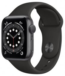Умные часы Apple Watch Series 6 GPS 40mm (RU, Aluminum Case with Sport Band, серый космос/черный)