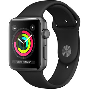 Умные часы Apple Watch Series 3 38mm (Space Gray Aluminum Case with Black Sport Band, MTF02RU/A)