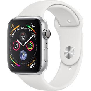 Умные часы Apple Watch Series 4 GPS 44mm (Silver Aluminum Case with White Sport Band, MU6A2RU/A)