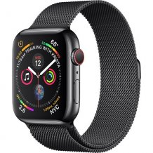 Умные часы Apple Watch Series 4 GPS + Cellular 44mm (Space Black Stainless Steel Case with Space Black Milanese Loop)