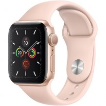 Умные часы Apple Watch Series 5 GPS 44mm (Gold Aluminium Case with Pink Sand Sport Band, MWVE2RU/A)