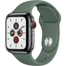 Умные часы Apple Watch Series 5 GPS + Cellular 44mm (Space Black Stainless Steel Case with Pine Green Sport Band)