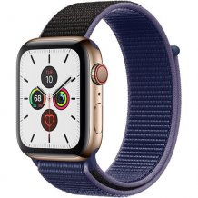 Умные часы Apple Watch Series 5 GPS + Cellular 44mm (Gold Stainless Steel Case with Midnight Blue Sport Loop)