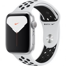 Умные часы Apple Watch Series 5 GPS 44mm (Silver Aluminium Case with Pure Platinum/Black Nike Sport Band, MX3V2RU/A)