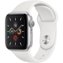 Умные часы Apple Watch Series 5 GPS 44mm (Silver Aluminium Case with White Sport Band, MWVD2RU/A)