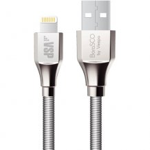 Фото товара BoraSCO USB - 8pin 3A 1м в металлической оплетке (серебристый)